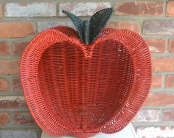 Apple Wicker Basket - 3D, Red and Green - Great Fall Decor- Vintage - Fabulous!