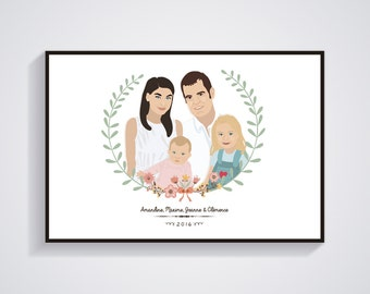 Portraits family of 4 persons customized - custom personalized illustration - Print / Poster A4 - A3