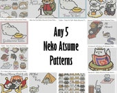 5-Pack Neko Atsume Cross-Stitch Patterns You Choose Your PDFs!