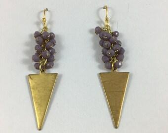 Antiqued Pale Purple Triangle Earrings