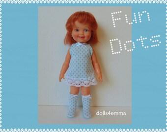 Vintage Ideal CINNAMON Doll CLOTHES - Retro Dress and Mod Boots blue dots - Handmade Custom Fashion - by dolls4emma