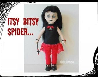 Living Dead Doll Goth Clothes - Goth Spider Dress, Red Legging, Bracelet & Goth Cross Ornament - Handmade Custom Fashion - by dolls4emma