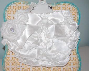 White Satin Bloomers with Matching White Elastic Headband