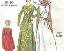 "SALE 30% OFF Vintage 70's Vogue 8333 Slit Neck Tunic Hoodie Maxi Dress, Pant  Sz 16  Bust to 38"" Hip to 40"""