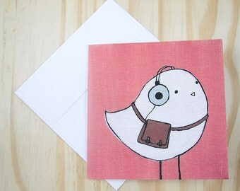 "CARD: ""Ethan the Hipster Bird"" featuring a hipster bird with his retro headphones and vintage leather satchel"
