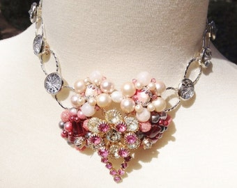 Repurposed Vintage Earring and Brooch Necklace
