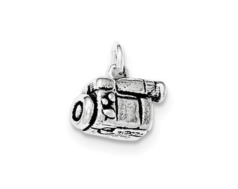 Sterling Silver Antiqued 3-D Video Camera Pendant