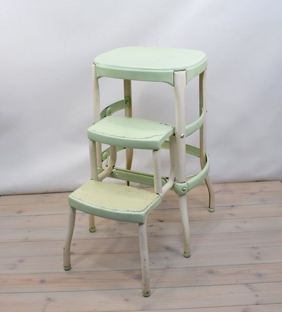 cosco kitchen stool shabby chic metal green. Black Bedroom Furniture Sets. Home Design Ideas