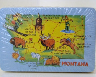 State Of Montana Miniature Playing Cards With Clear Plastic Case Scrapbooking Collage Supplies UNOPENED