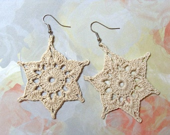 Crochet Earrings Creamy Off-White Stars Pierced BIG & Lightweight