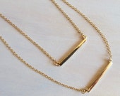 Simple and Classic Double Gold Bars Layering Statement Necklaces.