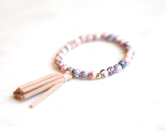 Pink Lavender Periwinkle Stone and Leather Tassel Beaded Bracelet.  Stacking bracelet. Stackable jewelry. Arm Candy. Tassel Jewelry for her