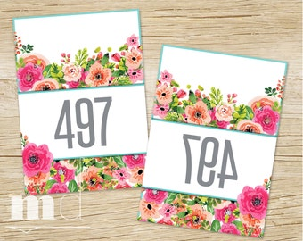 Mirrored Live Sale Tags, Hanger Numbers for Facebook Live Sales, 1-500 normal and mirrored, Floral Design Mirrored Image Sale Tags PRINTABLE