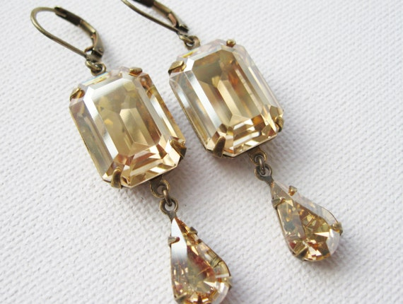Deco Champagne Drop Earrings, New Years Eve Wedding, Swarovski Elements Golden Shadow, Old Hollywood Bridal Earrings, Nickel free.