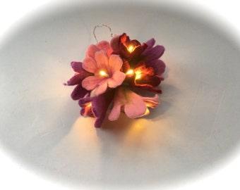 Fairy lights string,Wet felted flowers,Led lights.White.