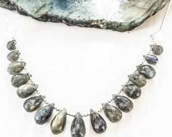 Labradorite Briolette Silver Bar Necklace