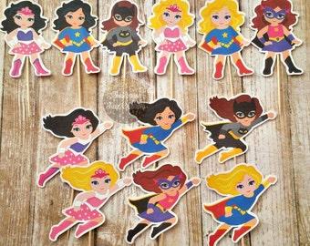 Girl Superhero Cupcake Topper(Set of 12), Girl Superhero Party, Girl Cupcake Toppers, Cupcake Topper, Superhero Birthday, Cake Topper