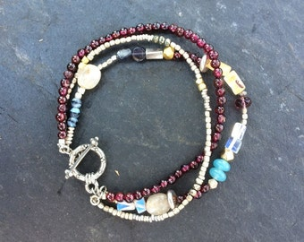 Triple Bracelet - Garnets, Beads & Gemstones