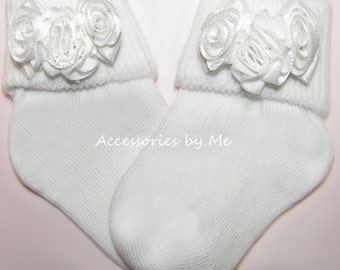 Baptism Socks, White Rose Socks, White Flower Girl Socks, White Communion Socks, White Easter Socks, White Baby Socks, White Newborn Socks