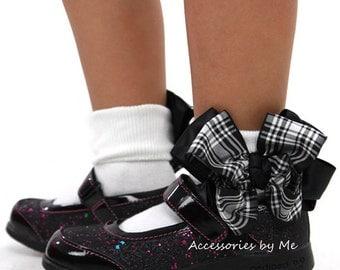 Plaid Bow Socks, Scottish Black White Socks, Menzies Black White Ribbon Bow Socks, School Girls Plaid Socks, Baby Plaid Socks, Toddler Socks
