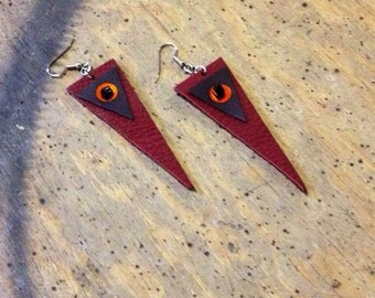 GEOMETRIC TRIANGLE LEATHER indie womens earrings