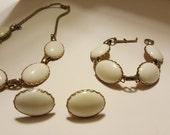 Vintage White Necklace,  Bracelet & Earring Set