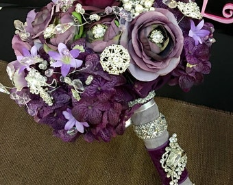 Plum Broach Bouquet & Brooch Boutiner Bridal Package