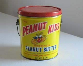 Vintage Peanut Kids Peanut Butter Tin Pail / colorful food advertising / retro kitchen storage container