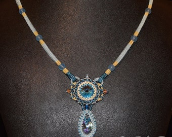 Swarovski Crystal necklace bead weaving blue handmade