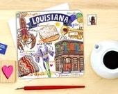 Louisiana notecard. Single or Pack of 4.