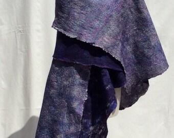 Felted Nuno shawl.Finest  Merino Wool ( 16 mic) on Vintage silk .