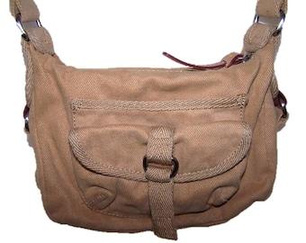 Vintage 80's Fossil Cotton Crossbody Safari Adventure Explorer Canvas Bag Khaki Brown Purse