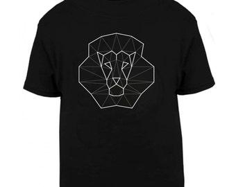Geometric lion tee, hipster animal t shirt, unisex children shirt, present for kid, boy girl gift