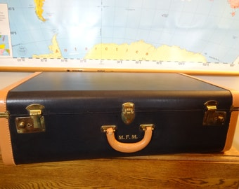 Vintage Luggage - 1930's-40's - Large Dark Navy Suitcase with Tan Leather Trim - Retro Suitcase - Wedding Prop - Photo Prop -Vintage Storage