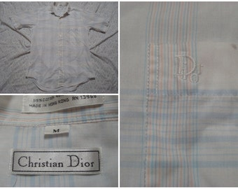 Vintage Retro Men's 80's Christian Dior Shirt White Blue Pink Plaid Buttonup Short Sleeve Medium