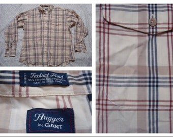 Vintage Retro Men's Gant Hugger Shirt Foxhunt Plaid Red Blue Tan Plaid Buttonup Long Sleeve Shirt XL