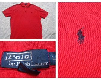 Vintage Retro Men's Polo Ralph Lauren Polo Shirt Short Sleeve Red Cotton Pique Polo Shirt Large