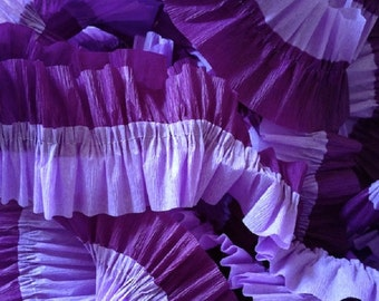 Purple and Lavender Ruffled Crepe Paper Streamers - 36 Feet - Hanging Decoration Party Decor Supplies