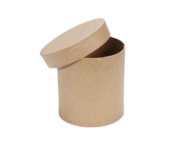 Round paper mache cardboard box 6 x 6 inch craft gift wrap for Craft paper mache boxes