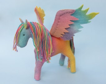 Felt Pegasus Rainbow Horse Toy, felt animal, waldorf toy