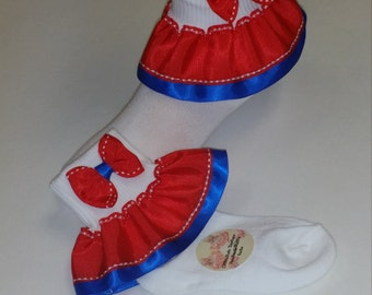 Girl ruffle socks Royal blue red and white girls ruffle socks