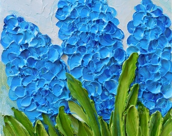 Blue Hyacinth Oil Impasto Painting, Floral Painting, Spring Hyacinth Bulbs
