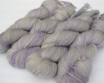 Yarn sock weight Hand dyed 100% Superwash Merino- silver lavender