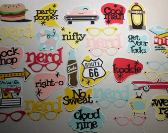 30 Pc. 50's Fifties Retro Photo Booth Props