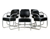 Set of Six Mid-Century Modern Vintage Chrome and Leather Dining Arm Chairs designed by KEM Weber, 601BPW02P