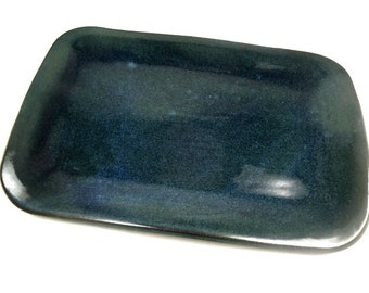 Blue Green Platter, Blue Kitchen Decor, Cheese Plate, Party Platter, Hostess Gift, Blue Pottery, Dessert Dish, Party Tray, Serving Dish