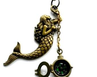Mermaid Compass Necklace Nautical Handmade Gift