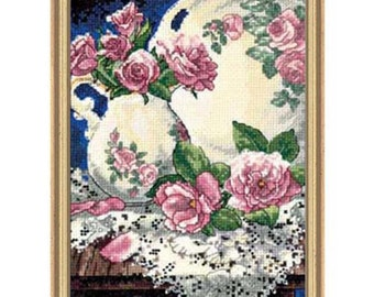 Cross Stitch Kit - Lace and Roses