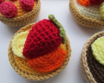 Fruit Tart Crochet Pattern, Crochet Cakes, Cake Pattern, Tutorial, Instant Download