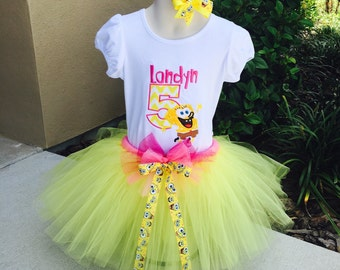 SPONGEBOB-Birthday Tutu Set Outfit with Tutu, Personalized EMBROIDERED Bodysuit/T-shirt and Headband/Bow-Pink and Yellow Version